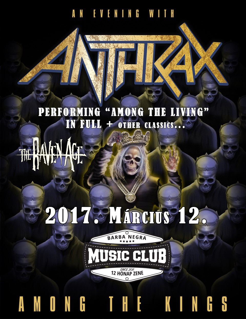 ANTHRAX koncert – 2017. március 12. – Barba Negra Music Club